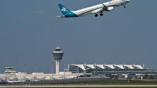 Munich airport plane takes off from runway