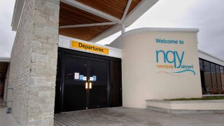 Newquay airport in Cornwall, UK